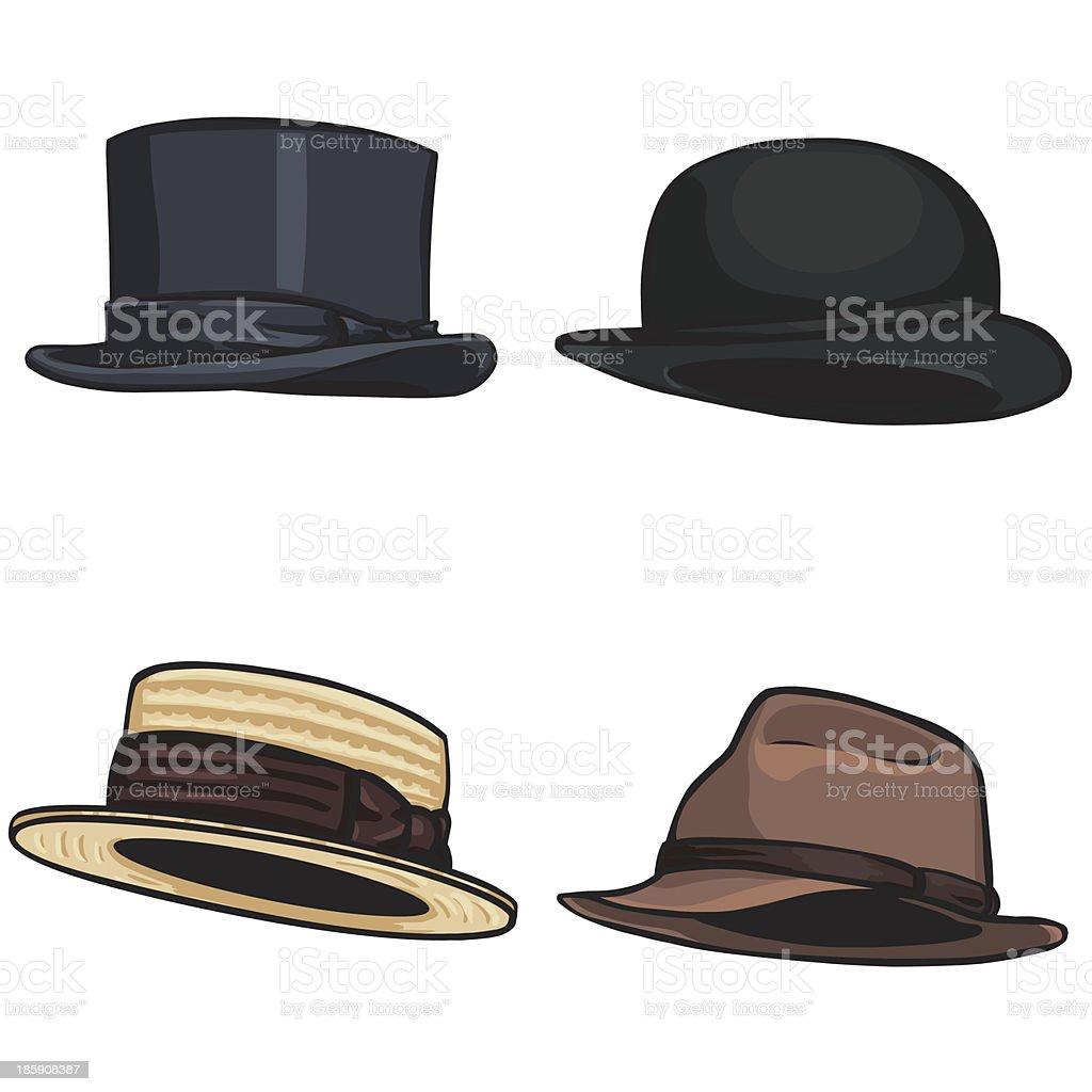 vector cartoon set of 4 hats vector art illustration
