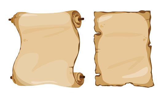 Vector cartoon set of ancient scroll and paper isolated on white background