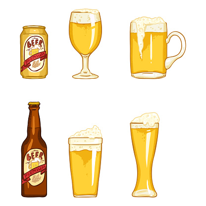 Vector Cartoon Set of Beer Glasses, Bottle and Can.