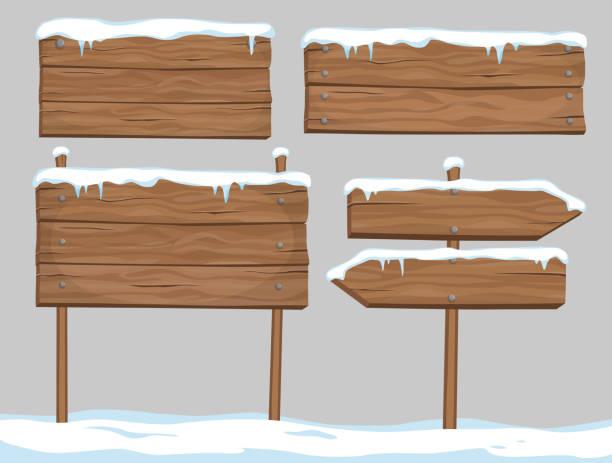 vektor-cartoon-satz der leere holzschilder, bedeckt mit schnee und eis auf grauem hintergrund isoliert - nagelplatte stock-grafiken, -clipart, -cartoons und -symbole