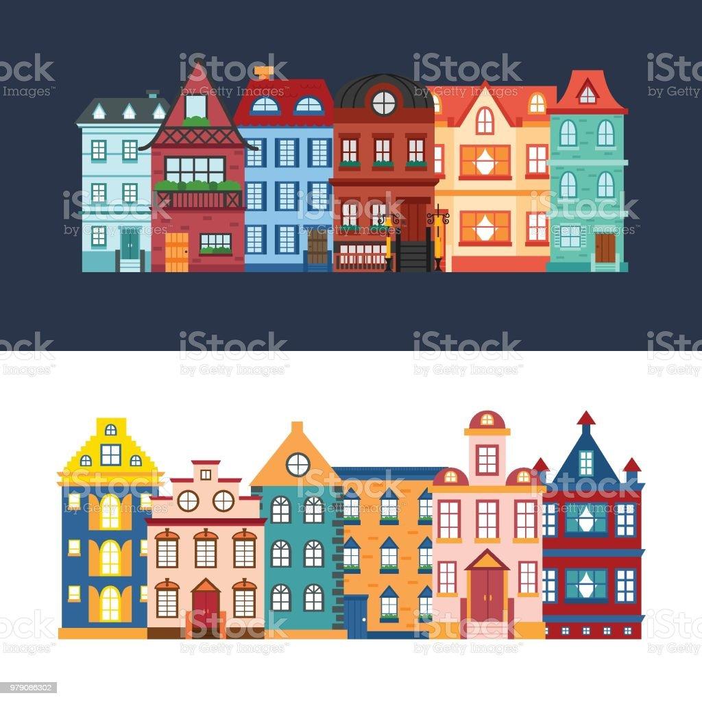 Set de dessin animé de vector de maisons de ville set de dessin animé de vector