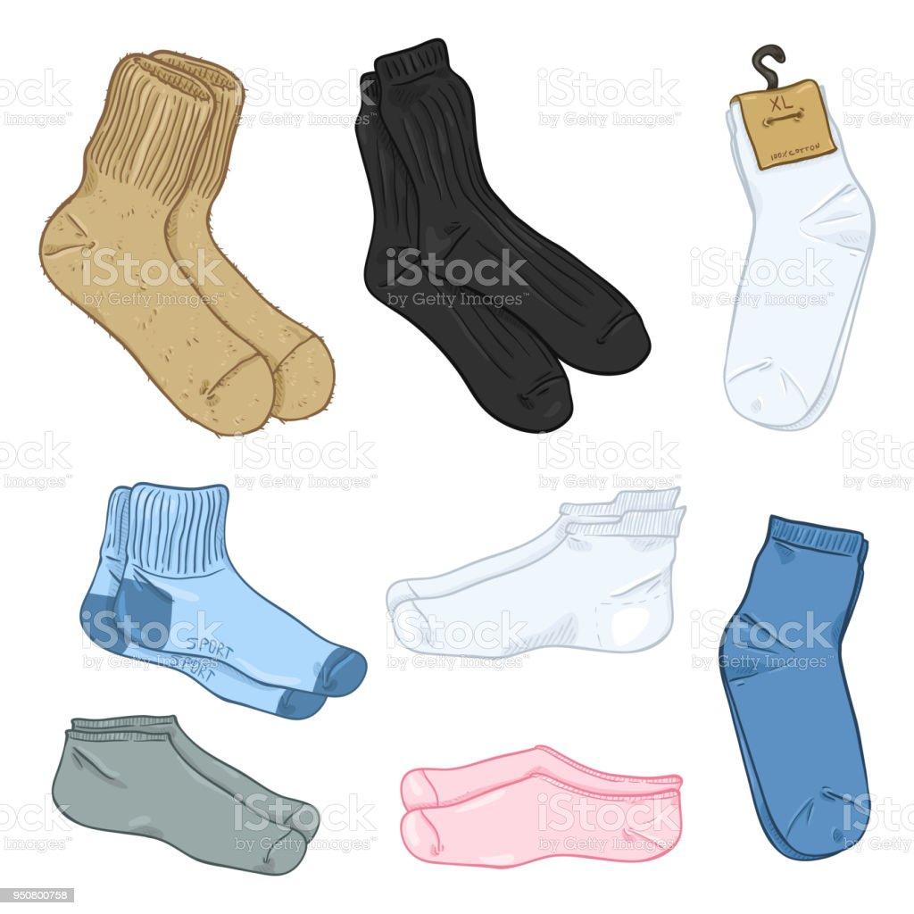 Vector Cartoon Set of Different Style Socks. vector art illustration