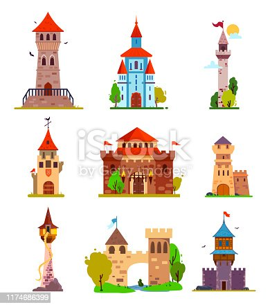 Different fantasy and gothic castles and citadels, with fabulous elements, for stickers and children's illustrations.