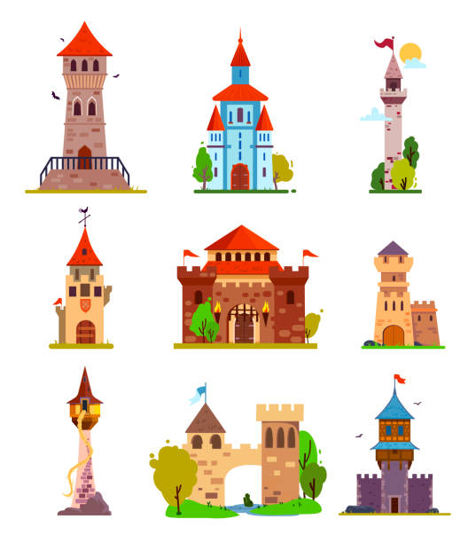 Vector cartoon set of fairytale castle, medieval towers. Different fantasy and gothic castles and citadels, with fabulous elements, for stickers and children's illustrations. tower stock illustrations