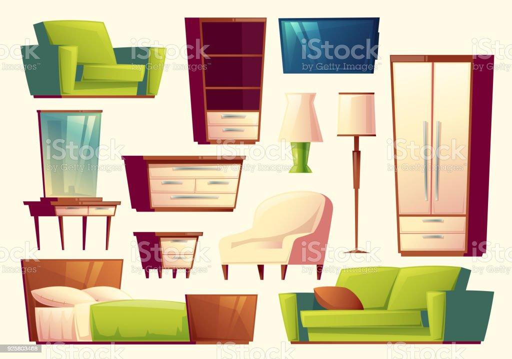 Ilustración de Vector De Dibujos Animados Conjunto De Muebles Sofa ...