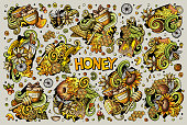 Vector hand drawn doodle cartoon set of Honey theme items, objects and symbols. All objects separate.