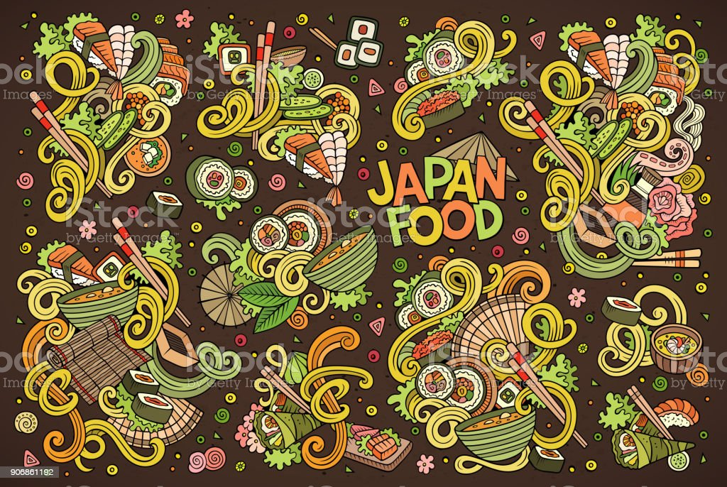 Vector cartoon set of Japan food objects vector art illustration