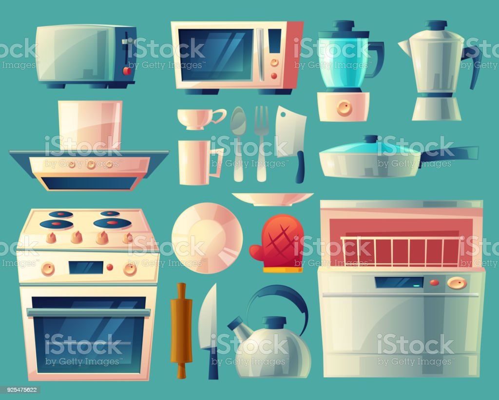 Ilustraci n de conjunto de dibujos animados vector de for Objetos para cocinar
