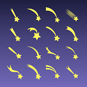 Vector cartoon shooting stars, comets or meteors fall isolated on blue background
