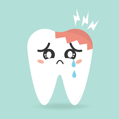 Vector cartoon sick tooth. Decay and destroy tooth.