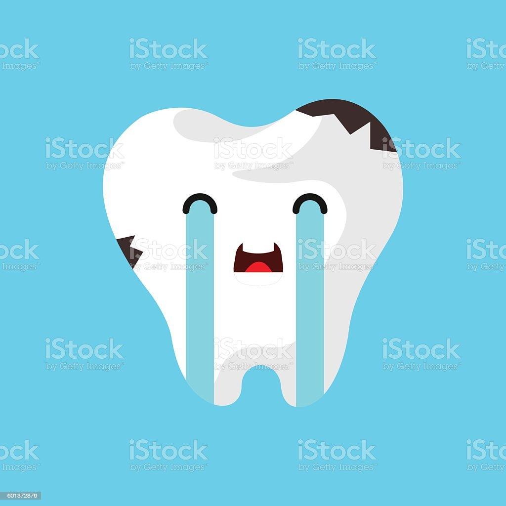 Vector cartoon sick tooth. vector art illustration