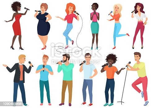 Vector cartoon singers with microphones and musicians set isolated. People singing songs