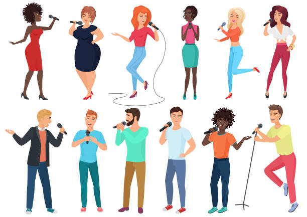 Vector cartoon singers with microphones and musicians set isolated. People singing karaoke songs. Vector cartoon singers with microphones and musicians set isolated. People singing songs singer stock illustrations