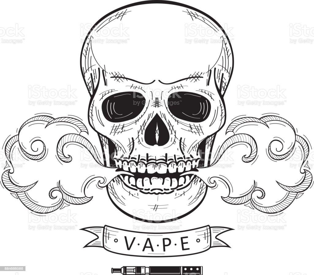 Ilustración de Dibujos Animados De Vector Cráneo Vaping Aislado y ...