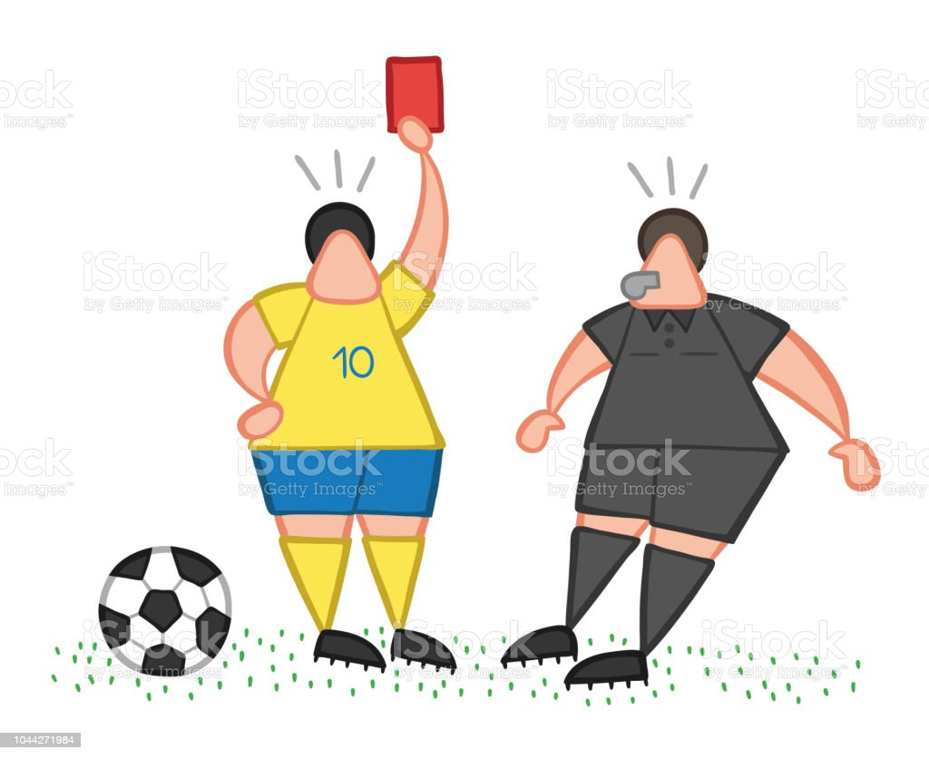 Vector Cartoon Soccer Player Man Showing Red Card To Referee Royalty Free