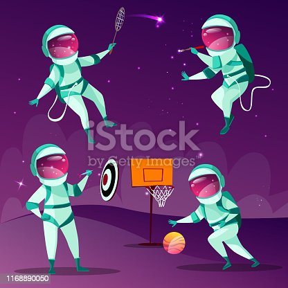 Vector funny spacemen playing darts, basketball, badminton and drawing in outer space in spacesuit without gravity set. Cartoon characters, astronauts leisure activity on cosmic purple background
