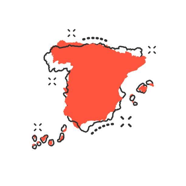 vector cartoon spanien kartensymbol im comic-stil. spanien-zeichen-darstellung-piktogramm. kartographie karte splash-effekt geschäftskonzept. - spanien stock-grafiken, -clipart, -cartoons und -symbole