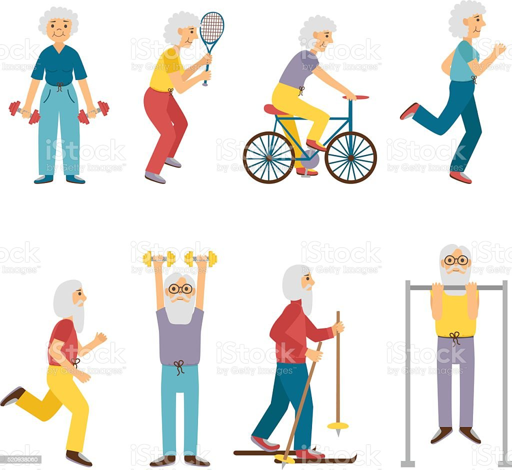 Vector cartoon sport active old people vector art illustration