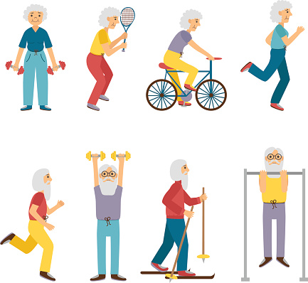 Vector Cartoon Sport Active Old People Stock Illustration - Download Image Now - iStock
