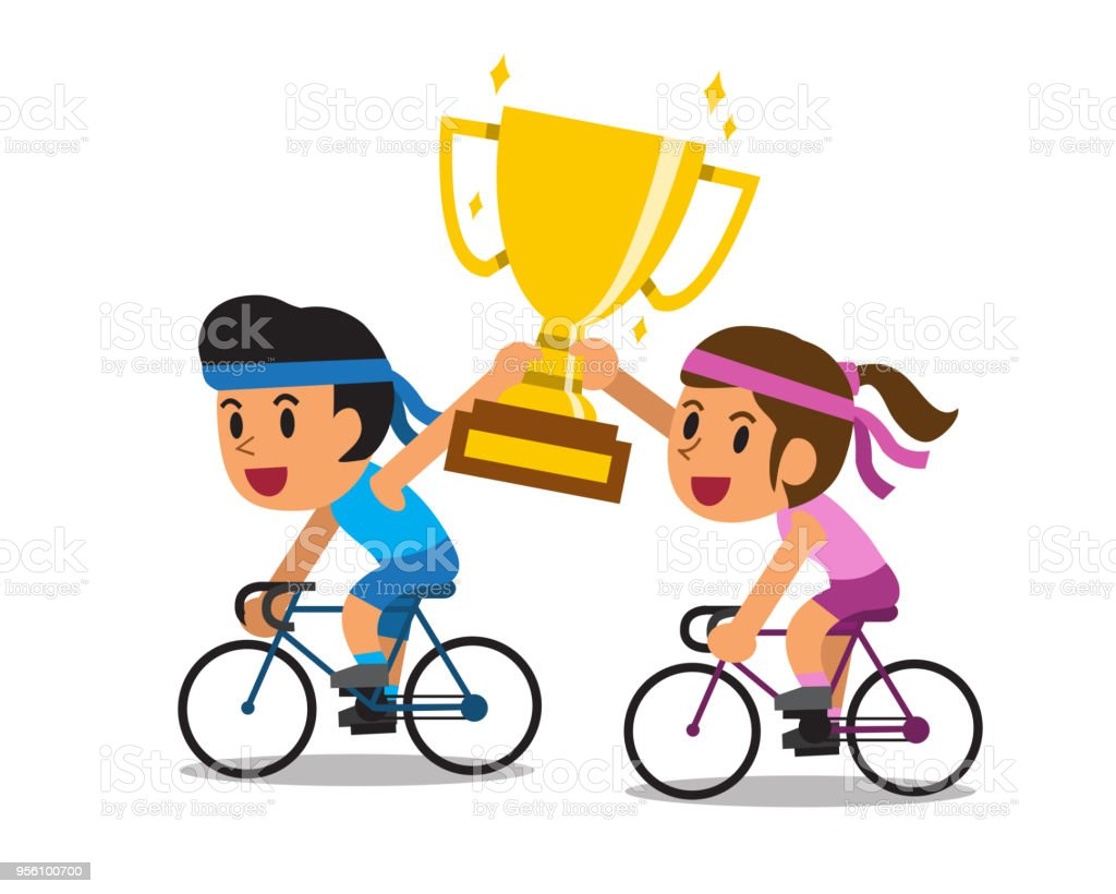 Vector Cartoon Sport Couple Riding Bikes And Holding Big Gold Trophy Cup Award Royalty Free