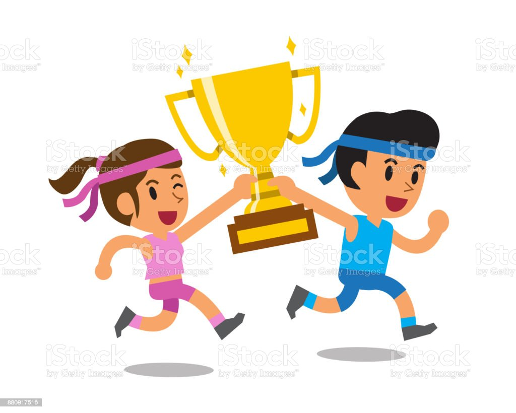 Vector Cartoon Sport Man And Woman Holding Big Gold Trophy