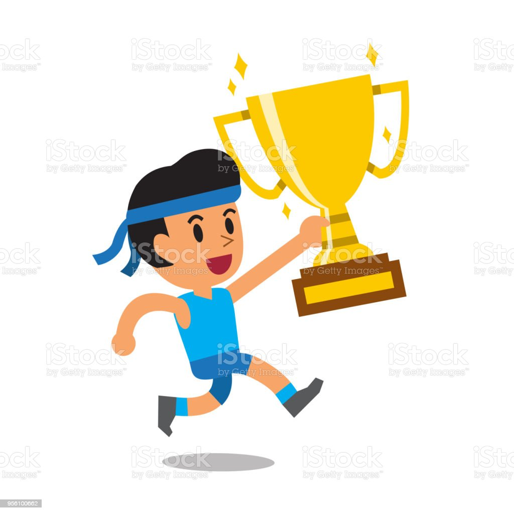 Vector Cartoon Sport Man Holding Big Gold Trophy Cup Award Royalty Free