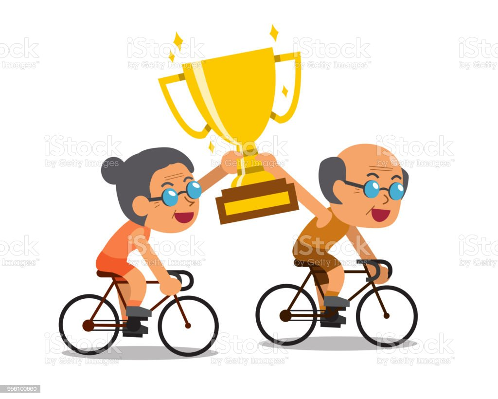 Vector Cartoon Sport Senior Couple Riding Bikes And Holding Big Gold Trophy Cup Award Royalty
