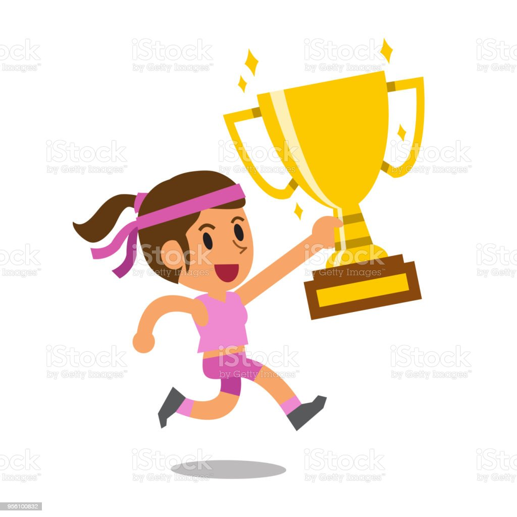 Vector Cartoon Sport Woman Holding Big Gold Trophy Cup Award Royalty Free