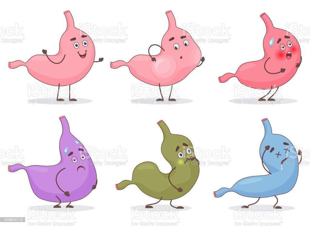 Vektorcartoon Magen Emoji Emoticons Gesicht Avatare Niedliche Bauch ...