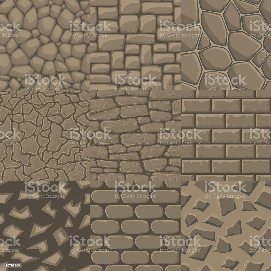 Dessin Animé Vector Seamless Texture De Mur En Pierre De 9 Modèles