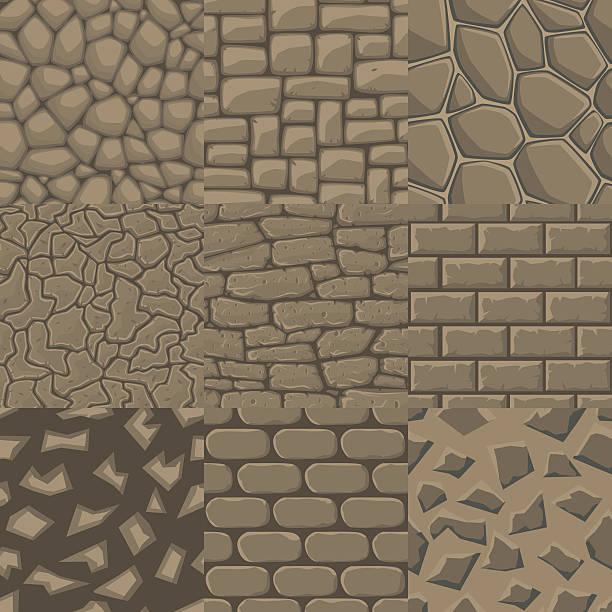vektor-comic steinmauer, nahtlose textur sammlung von 9 muster. - steinpfade stock-grafiken, -clipart, -cartoons und -symbole