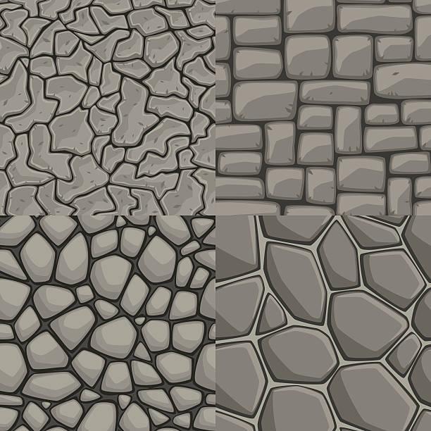 vektor-comic steinmauer, nahtlose textur-kollektion - steinpfade stock-grafiken, -clipart, -cartoons und -symbole