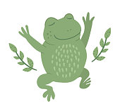 Vector cartoon style flat funny frog with twigs isolated on white background. Cute illustration of woodland swamp animal. Jumping amphibian icon for children's design.