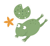 Vector cartoon style flat funny frog with waterlily isolated on white background. Cute illustration of woodland swamp animal. Jumping amphibian icon for children's design.