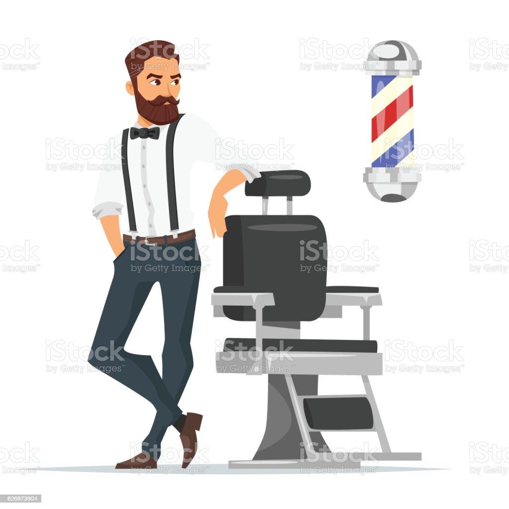 Vector cartoon style illustration of barber. vector art illustration