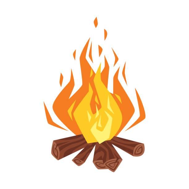 illustrazioni stock, clip art, cartoni animati e icone di tendenza di vector cartoon style illustration of bonfire. - falò