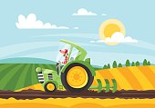 Vector cartoon style illustration of farmer working in land