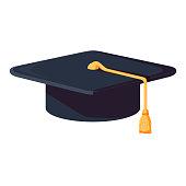 Vector cartoon style illustration of graduation cap. Icon for web. Isolated on white background. Student Hat vector illustration in the flat style. Academic cap of university.