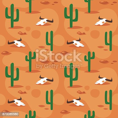 Vector cartoon style seamless pattern with desert surface with cactus and cow skull