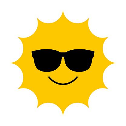Vector Cartoon Sun With Sunglasses Illustration