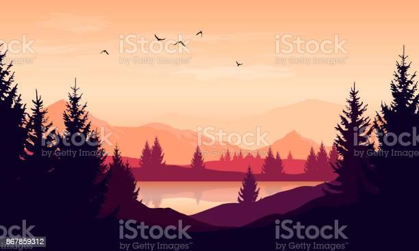 Vector cartoon sunset landscape with orange sky silhouettes of hills vector id867859312?b=1&k=6&m=867859312&s=612x612&h=lco3sirdz1uuaadhfzujtckamupc5hfcgtolw6lqodo=