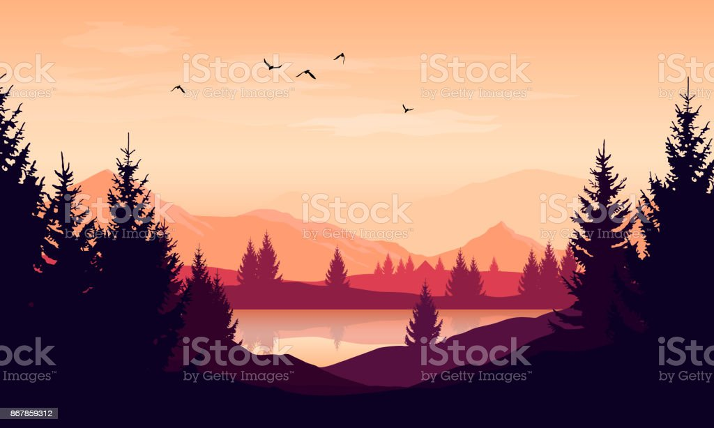 Vector cartoon sunset landscape with orange sky, silhouettes of mountains, hills and trees and lake vector art illustration