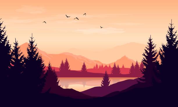 Vector Cartoon Sonnenuntergang Landschaft mit orangefarbenen Himmel, Silhouetten von Bergen, Hügeln und Bäumen und See – Vektorgrafik