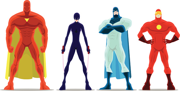 Vector Cartoon Superheroes Pose