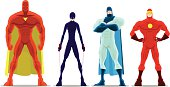 Vector Cartoon Superheroes Pose