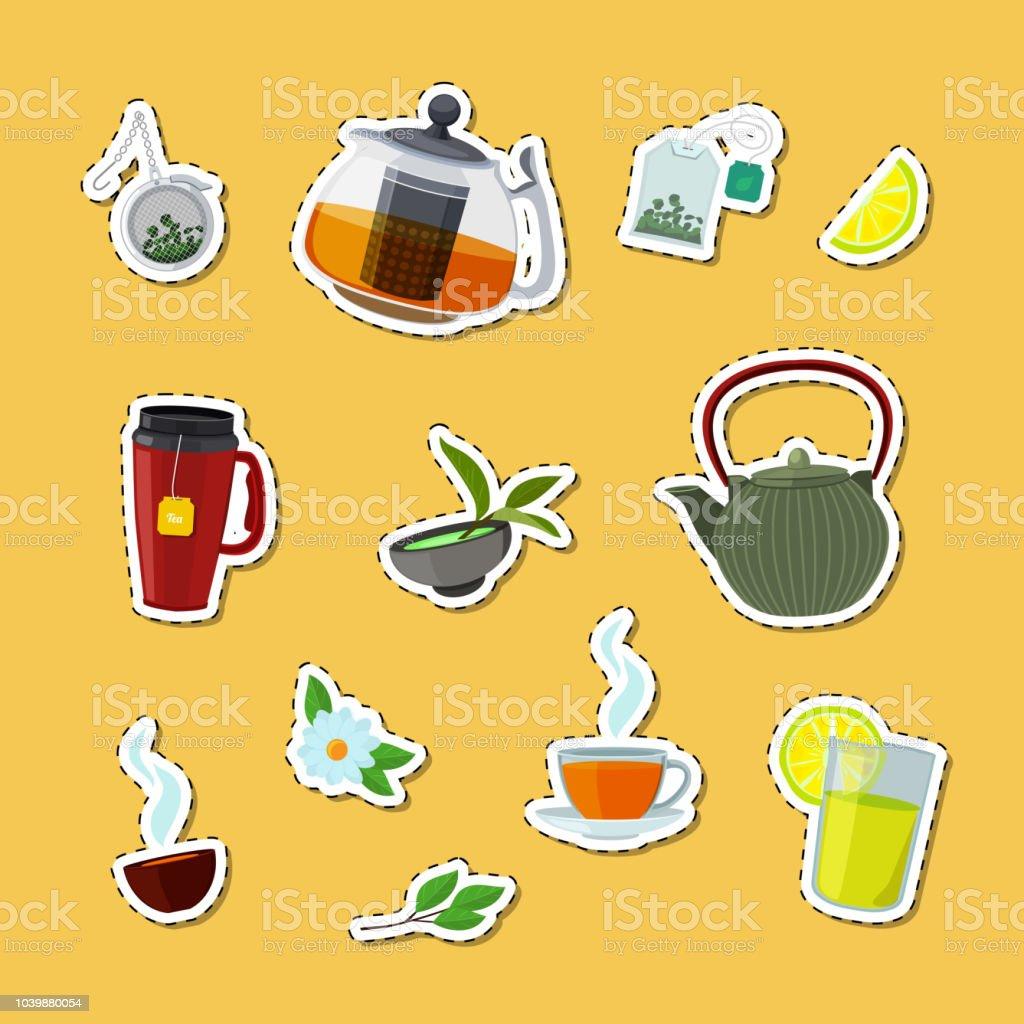 ベクトル漫画の紅茶ポットとカップ ステッカー セット図 ベクターアートイラスト