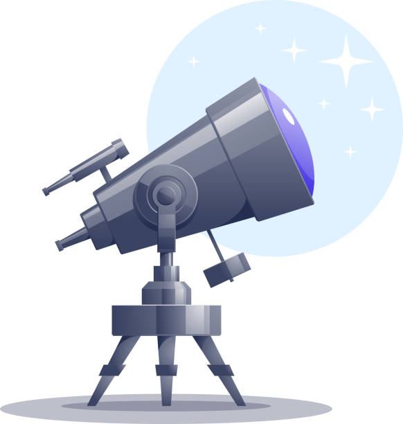 vector cartoon telescope - astronomy telescope stock illustrations