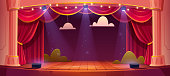 istock Vector cartoon theater stage with red curtains 1219980229