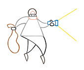 Vector cartoon thief man with face masked walking and holding flashlight and sack