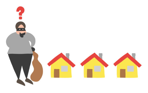 Vector cartoon thief man with face masked with sack and thinking which house to choose for theft vector art illustration